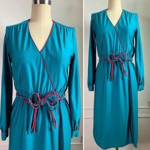 Vintage 80s Mock Wrap Dress with Belt